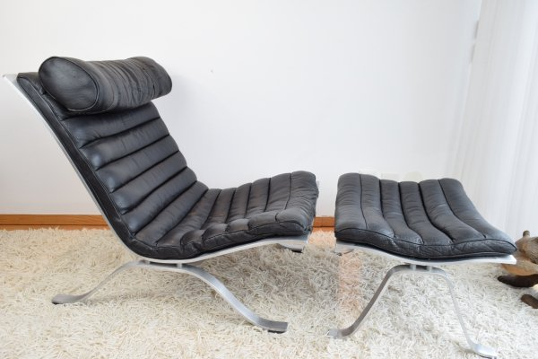 Arne Norell 'Ari' Easy Chair & matching ottoman, 1970's