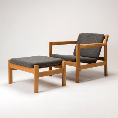 Model 227 Armchair & 228 Footstool by Børge Mogensen for Fredericia, Denmark 1960s
