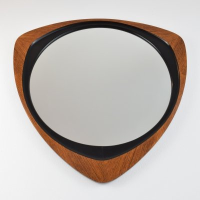 Teak Mirror with black ebonised inlay, 1950's