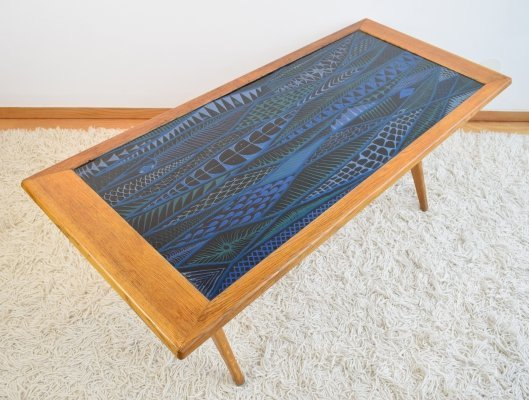 Triva-Dura series Oak & Enamel Coffee Table by Stig Lindberg & David Rosen, 1954