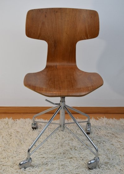 Arne Jacobsen FH 3113 Adjustable Swivel Desk Chair, 1960's