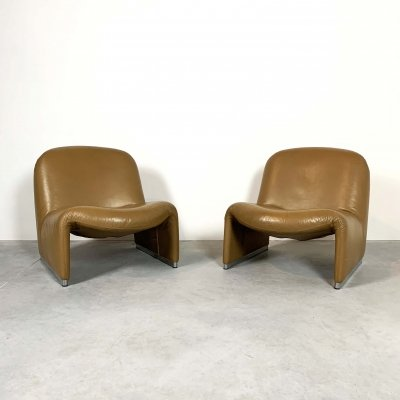 Pair of Camel Alky Lounge Chairs by Giancarlo Piretti for Castelli, 1970s