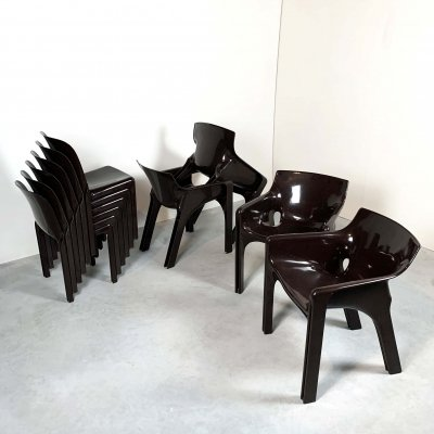 4 Gaudi Armchairs & 6 Selene Chairs by Vico Magistretti for Artemide, 1970s