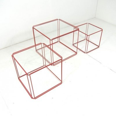 Rare red 'Isocele' nesting tables by Max Sauze for Atrow, 1970s