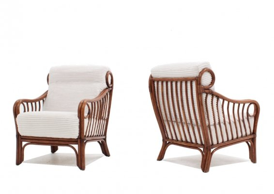 Pair of rattan armchairs by Lyda Levi for McGuire, 1970s