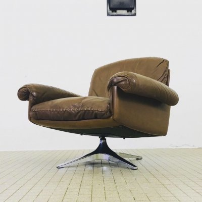 De sede ds31 brown leather swivel lounge chair, 1970s