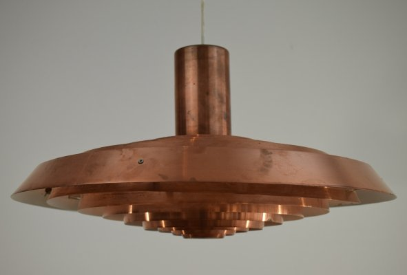Poul Henningsen PH Plate 'Tallerken' Copper Pendant Light, 1950's