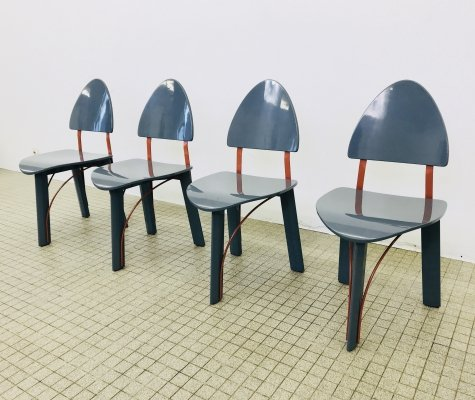 Set of 4 Memphis style dining chairs by Pozzi, 1980s