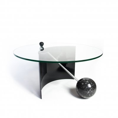 Geometric Black Marble Coffee Table, Italy 1970's