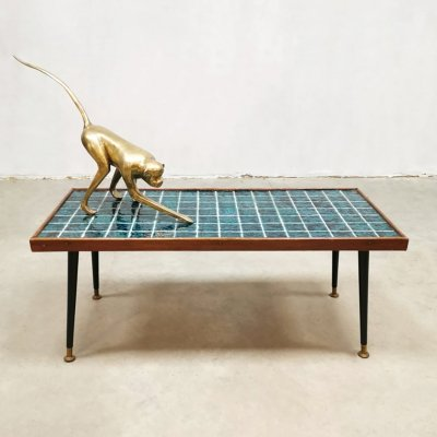 Vintage ceramic tile coffee table, 1950s