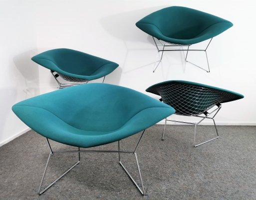 4 x Large Diamond Chair 422 by Harry Bertoia for Knoll, 1990s