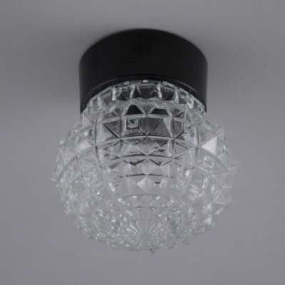 Retro Czech wall lights with clear cut glass, 1960s