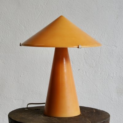 Midcentury Orange Glass Mushroom Table Lamp