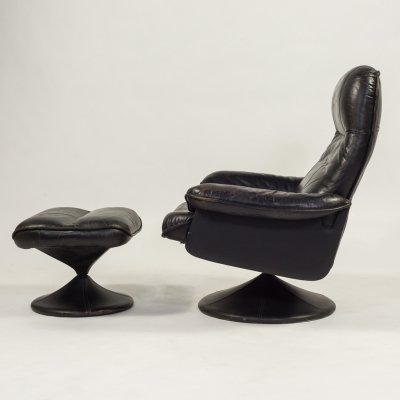 1970's 'Thams' vintage black leather armchair with ottoman