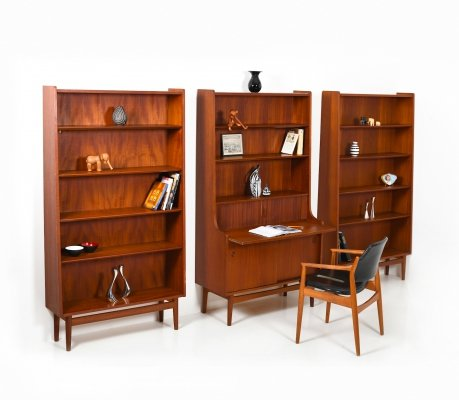 Danish set of conical Bookcases & matching Secretary by Johannes Sorth, 1960s