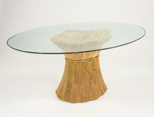 1970's Italian design sculptural glass top table by Morex