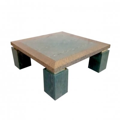 Malachite Burl Wood Coffee Table, 1970s