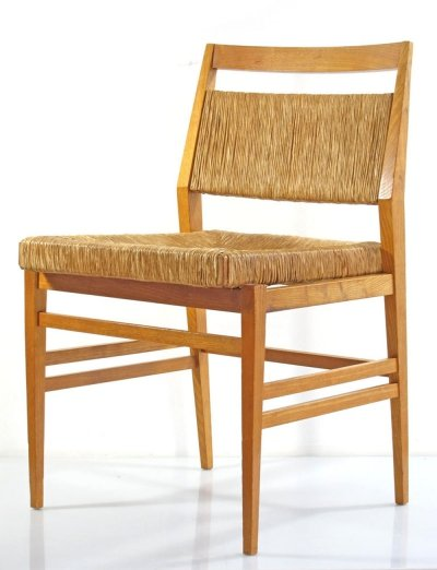 60s vintage oak dining chairs with rush seat