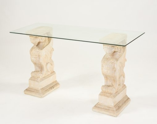 Monumental pillar table with glass top