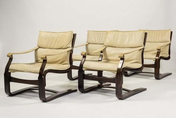 Four Ake Fribytter vintage armchairs, 1970's