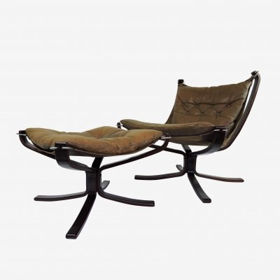 Falcon Chair & Ottoman by Sigurd Ressell, 1970s