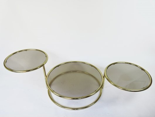 Vintage Brass & Smoked Glass Circular Coffee Table, 1980s
