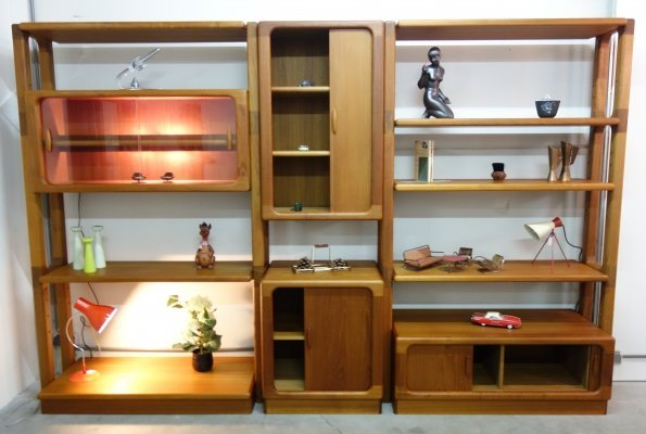 Large Danish Teak wall unit by Dyrlund, 1980s