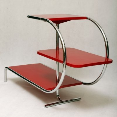 Bauhaus Red Chromed Tubular Steel Etagere, 1930s