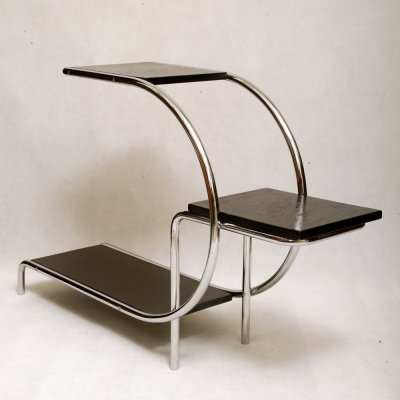 Bauhaus Chromed Tubular Steel Etagere by Emile Guyot for Thonet-Mundus, 1930s
