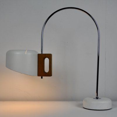 Sauce Table lamp by Fase in white metal & walnut, 1970s