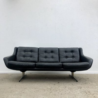 Vintage black leather sofa, 1960s