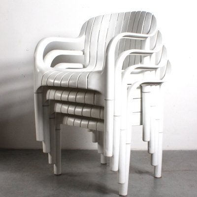 Set of 4 Dangari garden chairs by Pierre Paulin for Allibert, 1970s