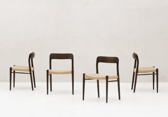 Set of 4 'Model 75' dining chairs by Niels Otto Møller, 1960's