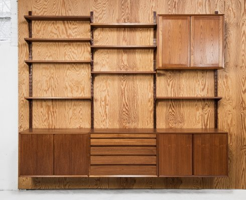 CADO wall system in teak by Poul Cadovius, 1960s