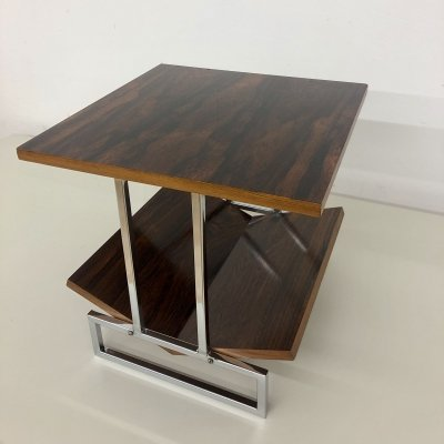 Stylish side table in rosewood with a geometrical base & magazine rack, 1960's