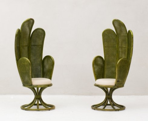 Set of 2 rattan easy chairs, France 1960's