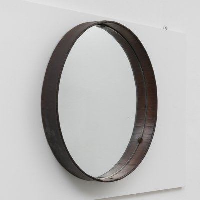 Stildomus Stitched Leather Round Wall Mirror, 1960