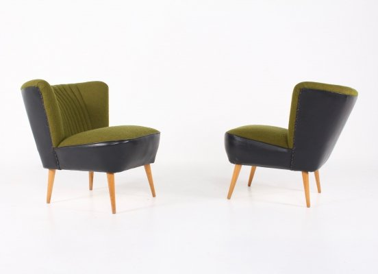 Pair of Green cocktail chairs, 1960s
