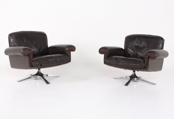 De Sede DS 31 dark brown leather swivel lounge chair