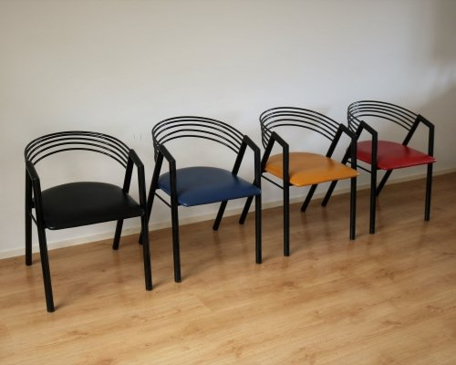 Set of 4 vintage dining chairs, 1980s