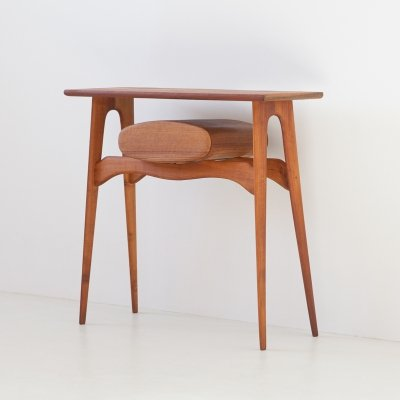 1950s Italian Teak Console Table with Drawer