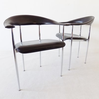 Pair of P40 dining chairs by Giancarlo Vegni for Fasem, 1980s