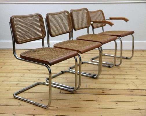 Set of 4 Brown Cantilevered Chairs, 1970s