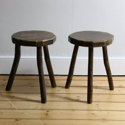 Pair of Rustic Timber Farmhouse Stools, 1960s