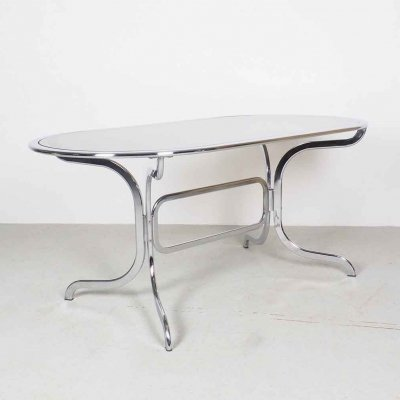 Gastone Rinaldi chrome & smoked glass dining table by Rima, 1970's