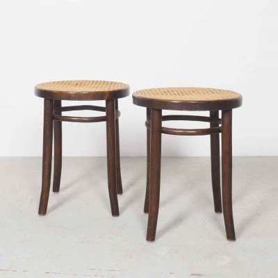 Set of 2 vintage wooden stools model 4601 by Thonet