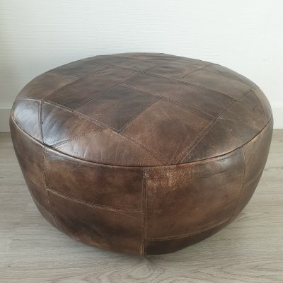 Large thick brown leather patchwork pouf, 1970s