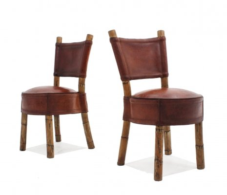 Pair of Vintage leather & rattan chairs, 1970s