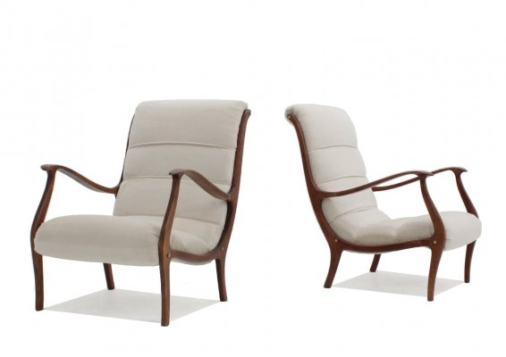 Pair of Ezio Longhi armchairs for ELAM, 1950s