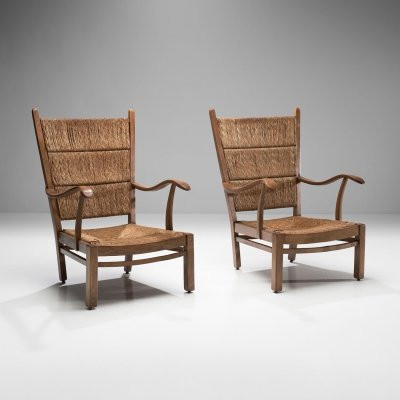 High Back Armchairs in Oak & Straw, the Netherlands 1940s